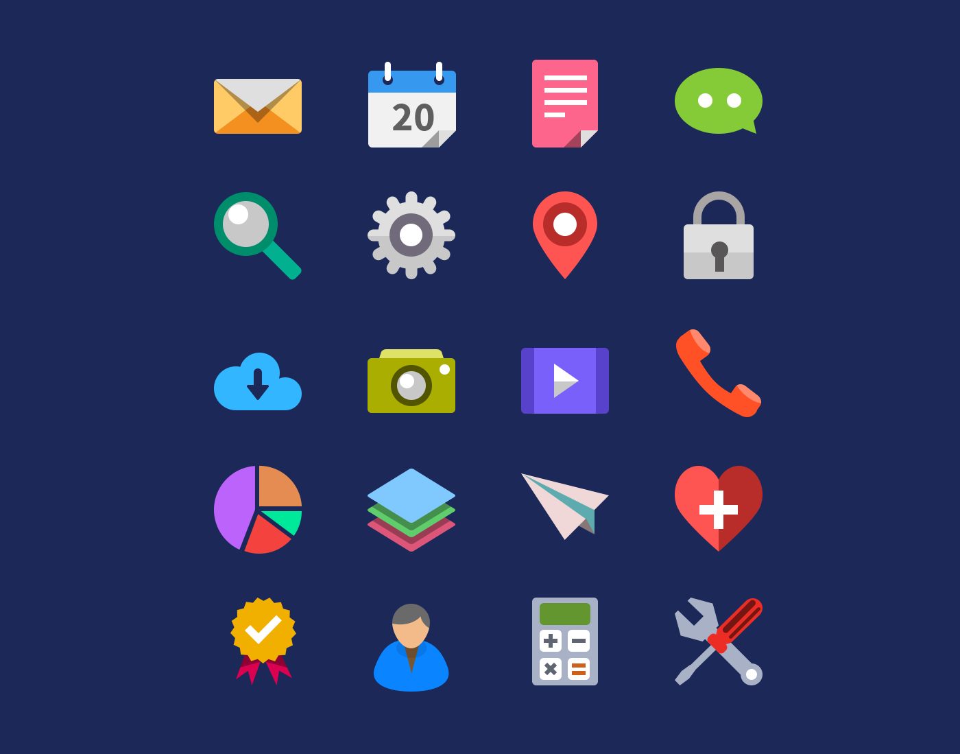 Flat Icon Set Design